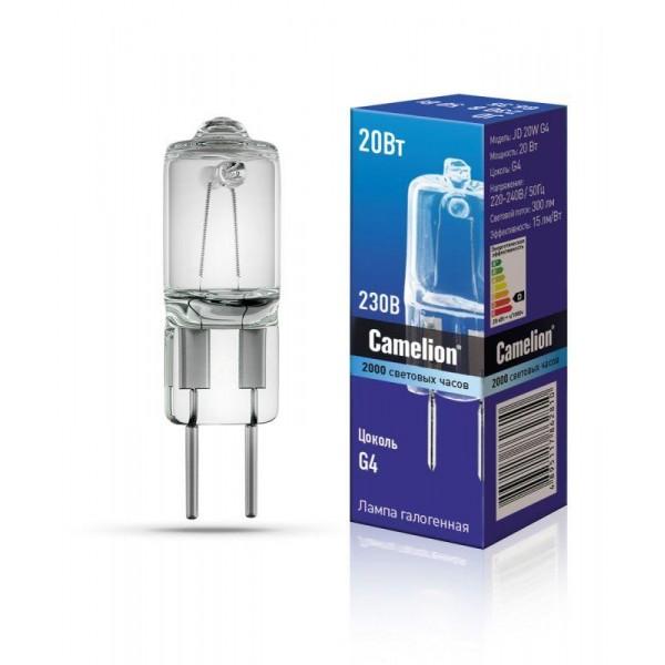 Лампа галогенная JD 20Вт капсула g4 2850К 240В g4 Camelion 10405
