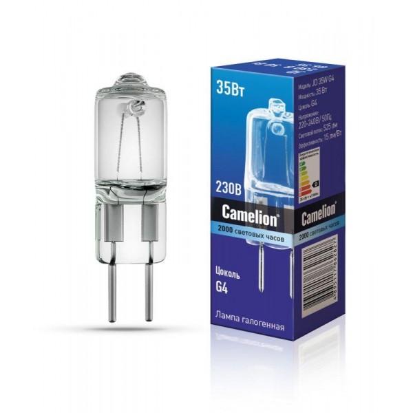 Лампа галогенная JD 35Вт капсула g4 2850К 240В Camelion 10406