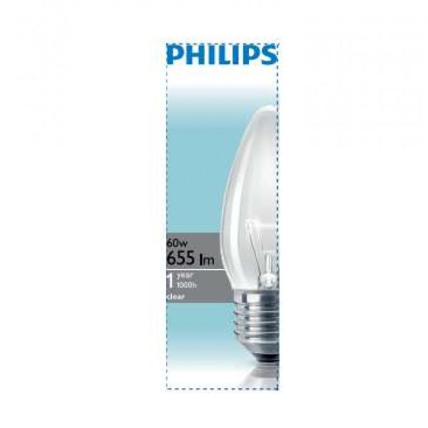 Лампа накаливания Stan 60Вт E27 230В B35 CL 1CT/10X10F Philips 921501544237