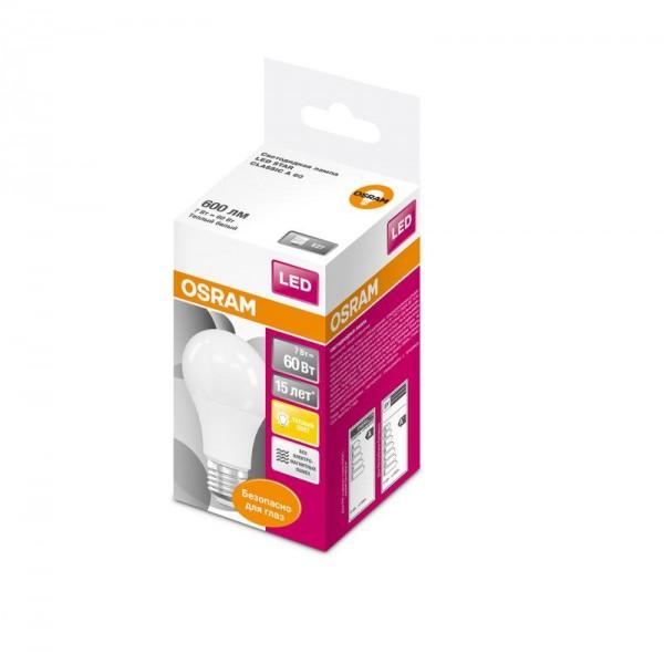 Лампа светодиодная LED STAR CLASSIC A 60 7W/827 7Вт грушевидная 2700К тепл. бел. E27 600лм 220-240В матов. пласт. OSRAM 4058075096387