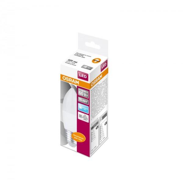 Лампа светодиодная LED STAR CLASSIC B 60 6.5W/840 6.5Вт свеча 4000К нейтр. бел. E27 550лм 220-240В матов. пласт. OSRAM 4058075134201