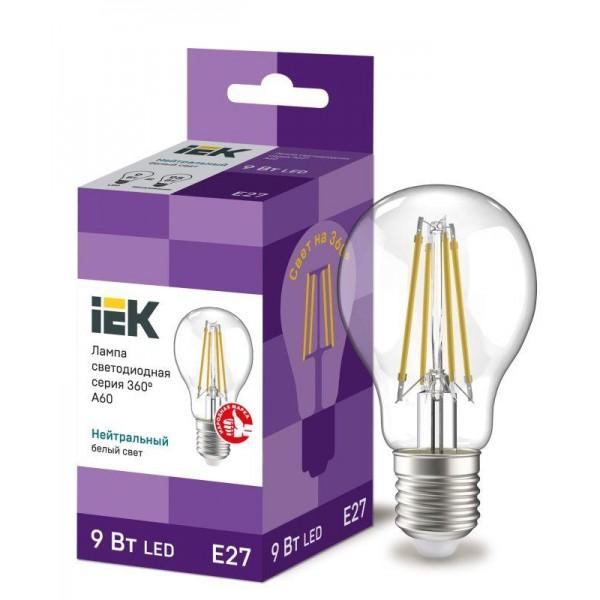 Лампа светодиодная 360° A60 9Вт шар 4000К E27 230В прозр. IEK LLF-A60-9-230-40-E27-CL