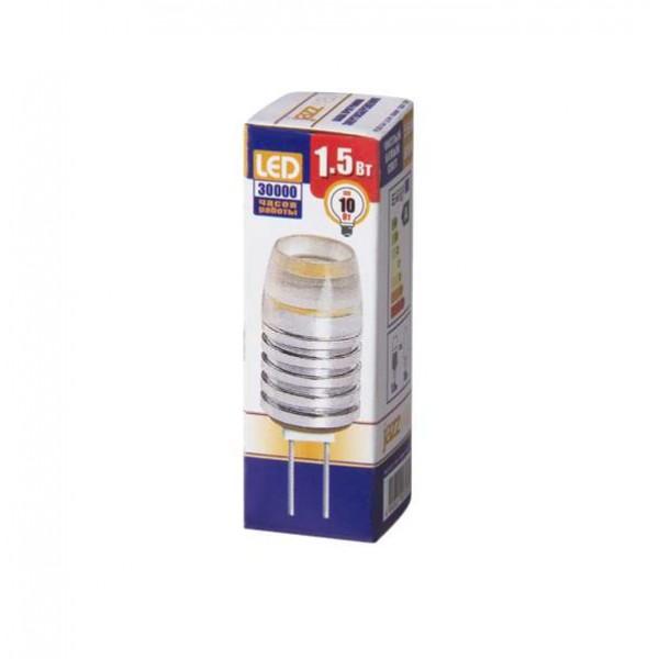 Лампа светодиодная PLED-G4 1.5Вт капсульная 5500К холод. бел. G4 90лм 12В JazzWay 1007070
