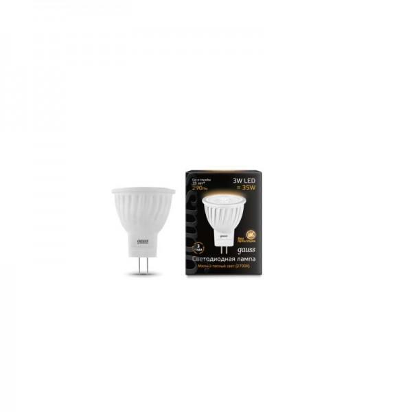 Лампа светодиодная Black D35х45 SMD MR11 3Вт 2700К тепл. бел. GU4 250лм 150-265В FROST Gauss 132517103