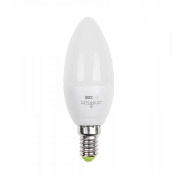 Лампа светодиодная PLED-ECO-C37 5Вт свеча 3000К тепл. бел. E14 400лм 220-240В JazzWay 1036834A