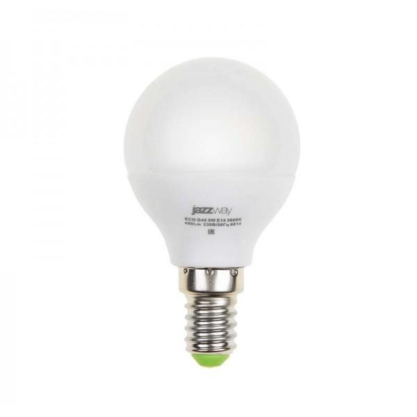 Лампа светодиодная PLED-ECO-G45 5Вт шар 4000К бел. E14 400лм 220-240В JazzWay 1036926A