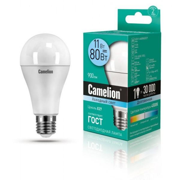Лампа светодиодная LED11-A60/845/E27 11Вт грушевидная 4500К бел. E27 880лм 220-240В Camelion 12036