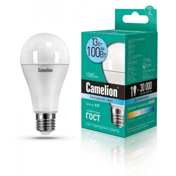 Лампа светодиодная LED13-A60/845/E27 13Вт грушевидная 4500К бел. E27 1085лм 220-240В Camelion 12046