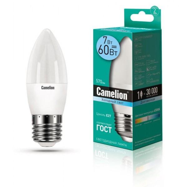 Лампа светодиодная LED7-C35/845/E27 7Вт свеча 4500К бел. E27 560лм 220В Camelion 12078