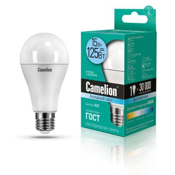Лампа светодиодная LED15-A60/845/E27 15Вт грушевидная 4500К E27 1320лм 220В бел. Camelion 12186