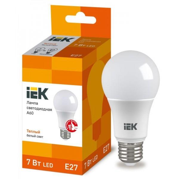 Лампа светодиодная ECO A60 7Вт грушевидная 3000К тепл. бел. E27 630лм 230-240В IEK LLE-A60-7-230-30-E27