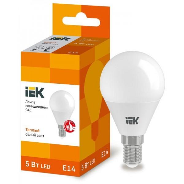 Лампа светодиодная ECO G45 5Вт шар 3000К тепл. бел. E14 450лм 230-240В IEK LLE-G45-5-230-30-E14