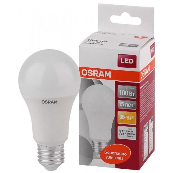 Лампа светодиодная LED STAR CLASSIC A 100 10W/827 10Вт грушевидная 2700К тепл. бел. E27 1060лм 220-240В матов. пласт. OSRAM 4052899971578