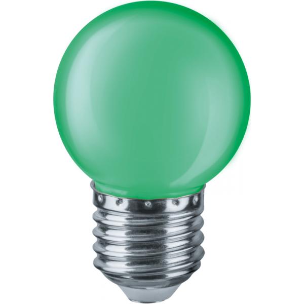 Лампа светодиодная 71 828 NLL-G45-1-230-G-E27 1Вт шар E27 220-240В зел. Navigator 71828