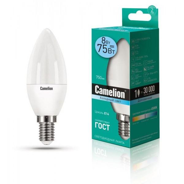 Лампа светодиодная LED8-C35/845/E14 8Вт свеча 4500К бел. E14 750лм 170-265В Camelion 12386