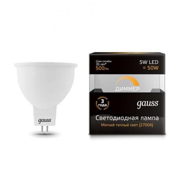 Лампа светодиодная Black MR16 5Вт 3000К тепл. бел. GU5.3 500лм 180-265В диммир. Gauss 101505105-D
