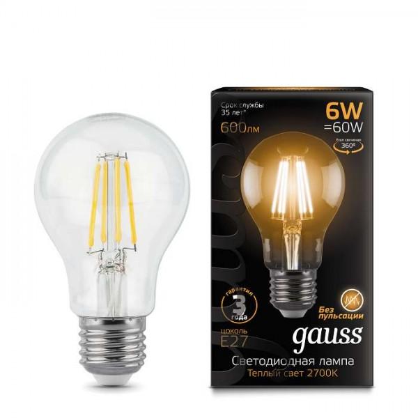 Лампа светодиодная Black Filament А60 E27 6Вт 2700К Gauss 102802106