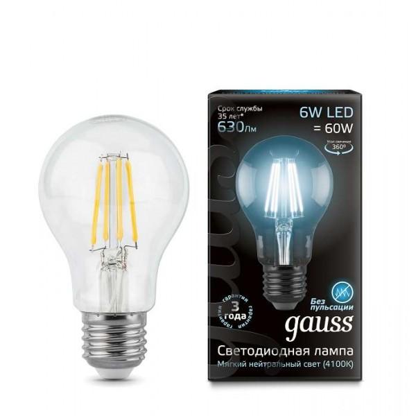 Лампа светодиодная Black Filament А60 E27 6Вт 4100К Gauss 102802206