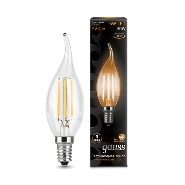 Лампа светодиодная Black Filament Свеча на ветру E14 5Вт 2700К Gauss 104801105