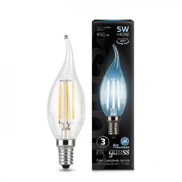 Лампа светодиодная Black Filament Свеча на ветру E14 5Вт 4100К Gauss 104801205