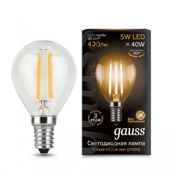 Лампа светодиодная Black Filament Шар E14 5Вт 2700К Gauss 105801105