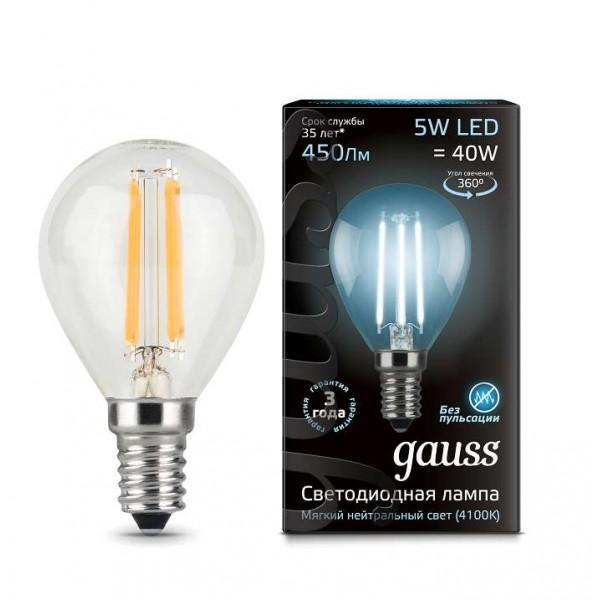 Лампа светодиодная Black Filament Шар E14 5Вт 4100К Gauss 105801205