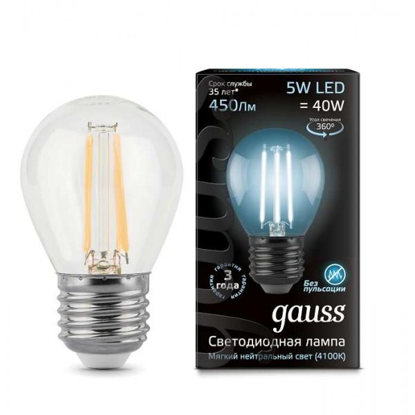 Лампа светодиодная Black Filament Шар E27 5Вт 4100К Gauss 105802205