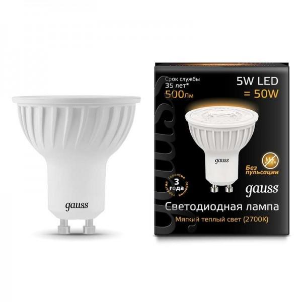 Лампа светодиодная Black MR16 5Вт 3000К тепл. бел. GU10 500лм 150-265В Gauss 101506105