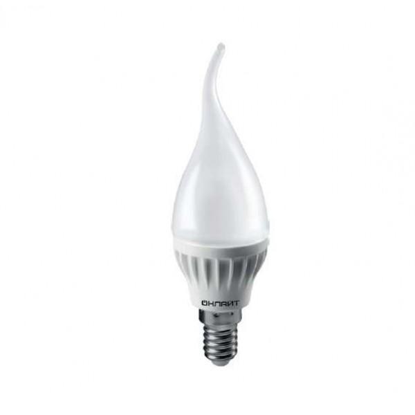 Лампа светодиодная 71 620 OLL-FC37-6-230-2.7K-E14-FR 6Вт свеча на ветру 2700К тепл. бел. E14 450лм 220-240В ОНЛАЙТ 71620