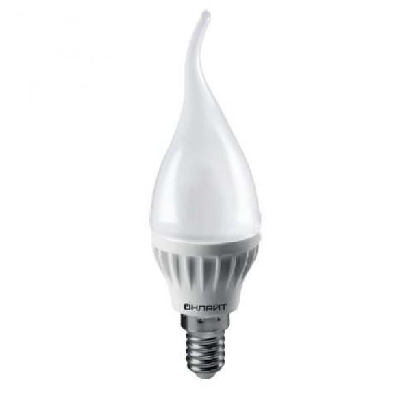 Лампа светодиодная 61 131 OLL-FC37-6-230-6.5K-E14-FR 6Вт свеча на ветру 6500К холод. бел. E14 480лм 230В ОНЛАЙТ 61131