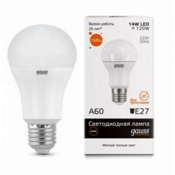 Лампа светодиодная Elementary A60 20Вт E27 3000К 1/10/40 Gauss 23219