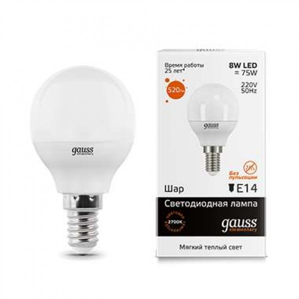 Лампа светодиодная Elementary Globe E14 8Вт 3000К Gauss 53118