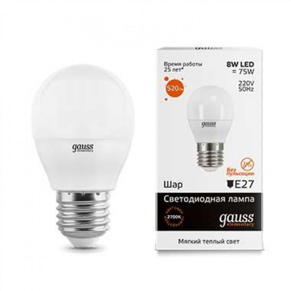 Лампа светодиодная Elementary Globe E27 8Вт 3000К Gauss 53218