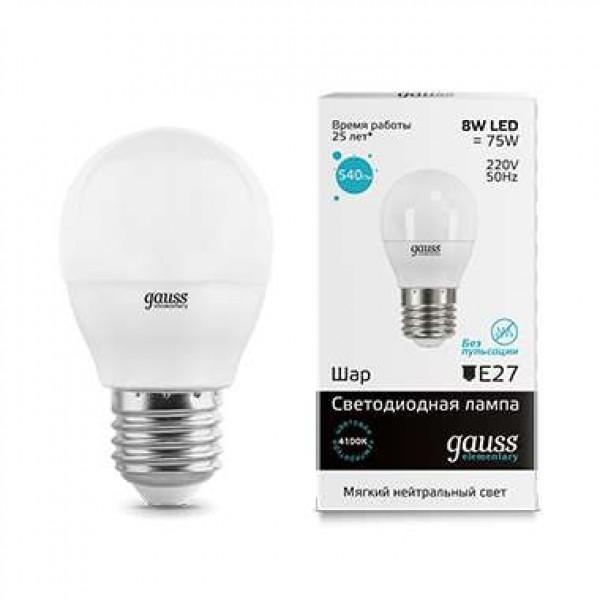 Лампа светодиодная Elementary Globe E27 8Вт 4100К Gauss 53228