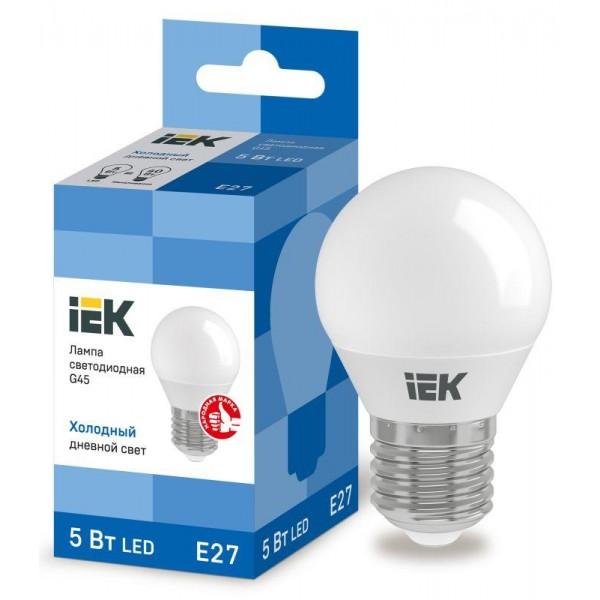 Лампа светодиодная ECO G45 5Вт шар 6500К E27 230В IEK LLE-G45-5-230-65-E27