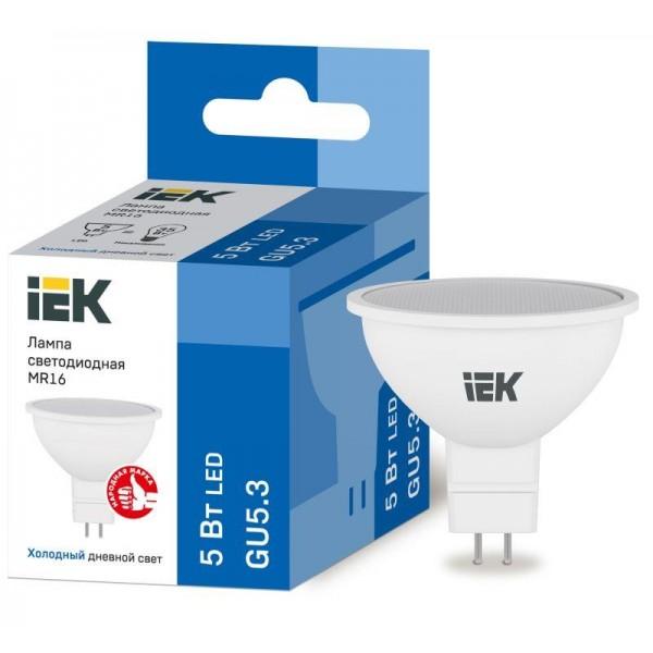 Лампа светодиодная ECO MR16 софит 5Вт 230В 6500К GU5.3 IEK LLE-MR16-5-230-65-GU5
