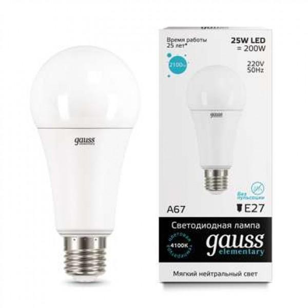 Лампа светодиодная Elementary A67 25Вт E27 4100К Gauss 73225
