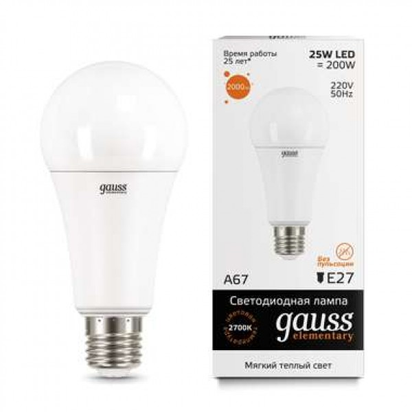 Лампа светодиодная Elementary A67 25Вт E27 3000К Gauss 73215