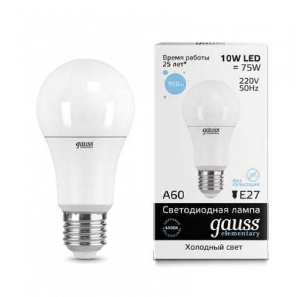 Лампа светодиодная Elementary A60 10Вт E27 6500К Gauss 23230