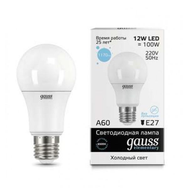Лампа светодиодная Elementary A60 12Вт E27 6500К Gauss 23232