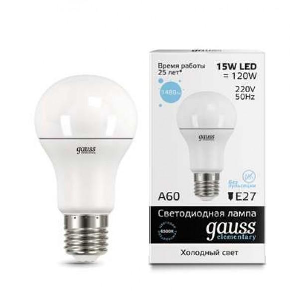 Лампа светодиодная Elementary A60 15Вт E27 6500К Gauss 23235