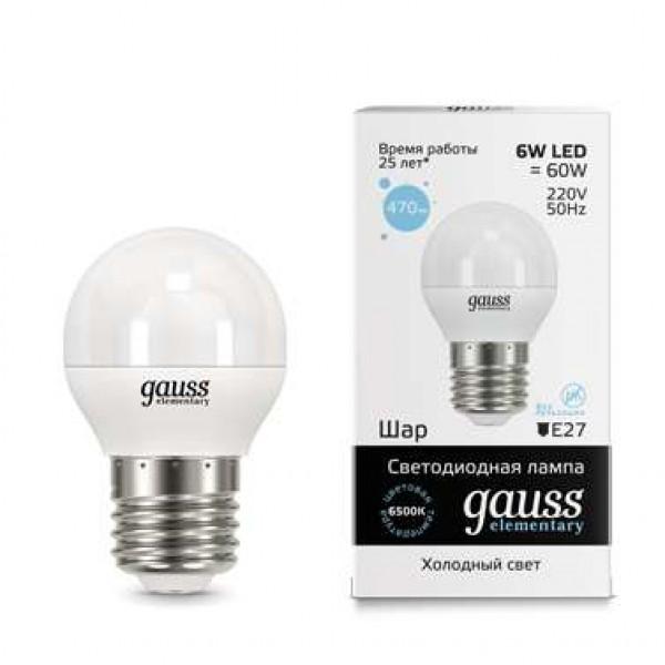 Лампа светодиодная Elementary Globe 6Вт E27 6500К Gauss 53236