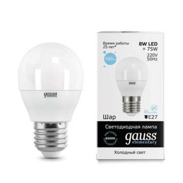 Лампа светодиодная Elementary Globe 8Вт E27 6500К Gauss 53238