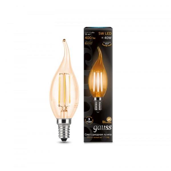 Лампа светодиодная Black Filament Свеча на ветру E14 5Вт 2700К Golden Gauss 104801005