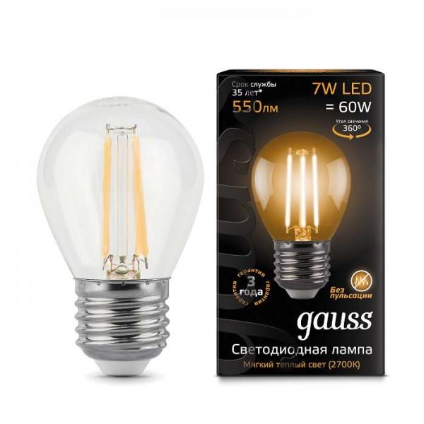 Лампа светодиодная Black Filament Шар E27 7Вт 2700К Gauss 105802107