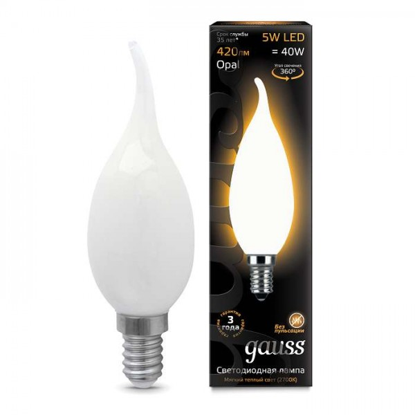 Лампа светодиодная Black Filament Свеча на ветру E14 5Вт 2700К OPAL Gauss 104201105