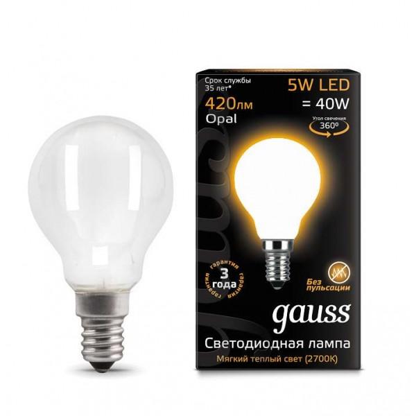 Лампа светодиодная Black Filament Шар E14 5Вт 2700КOPAL Gauss 105201105