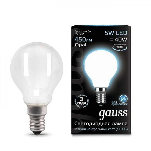 Лампа светодиодная Black Filament Шар E14 5Вт 4100К OPAL Gauss 105201205