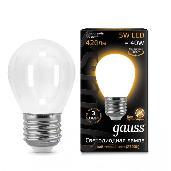 Лампа светодиодная Black Filament Шар E27 5Вт 2700К OPAL Gauss 105202105