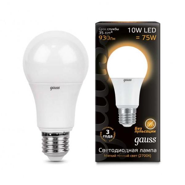 Лампа светодиодная Black A60 10Вт E27 3000К Gauss 102502110